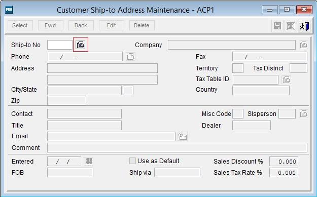 Sage Pro customer ship to address finder