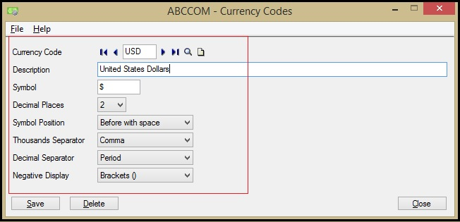 Sage 300 ERP Currency Details