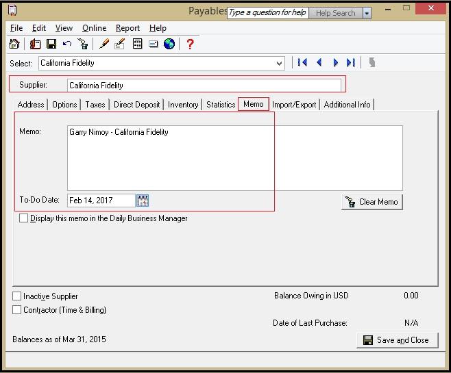 Sage 50 CAD Vendor Memo Details