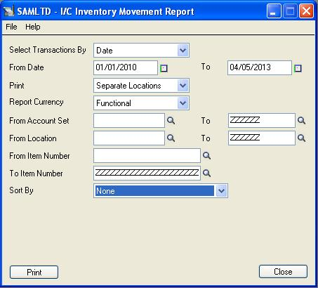 IC Inventory Movement Report