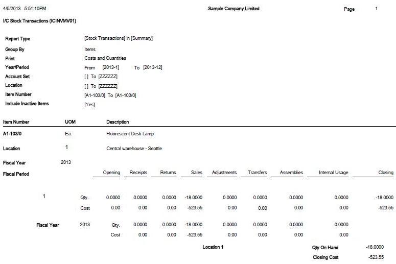 IC Stock transaction report