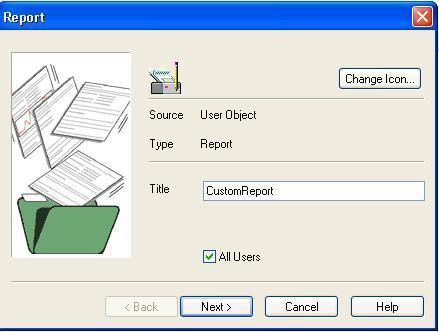 Report title addition screen