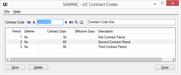 IC Contract code screen