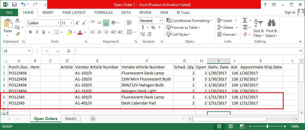 Excel file generated