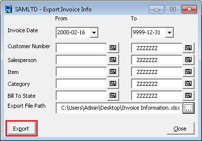 Export Invoice info screen
