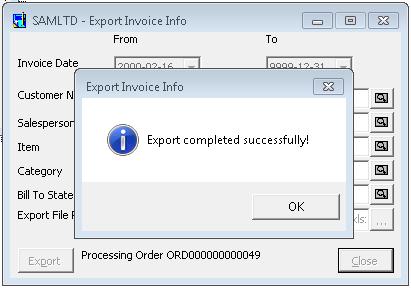 Process succesful