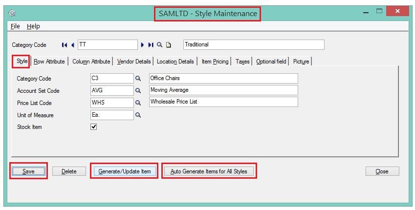 1.1 Style Maintenance screen