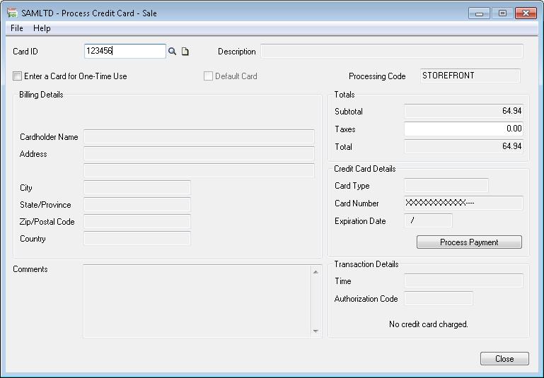 Process Credit card sale