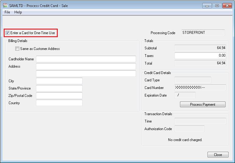 Process Credit card