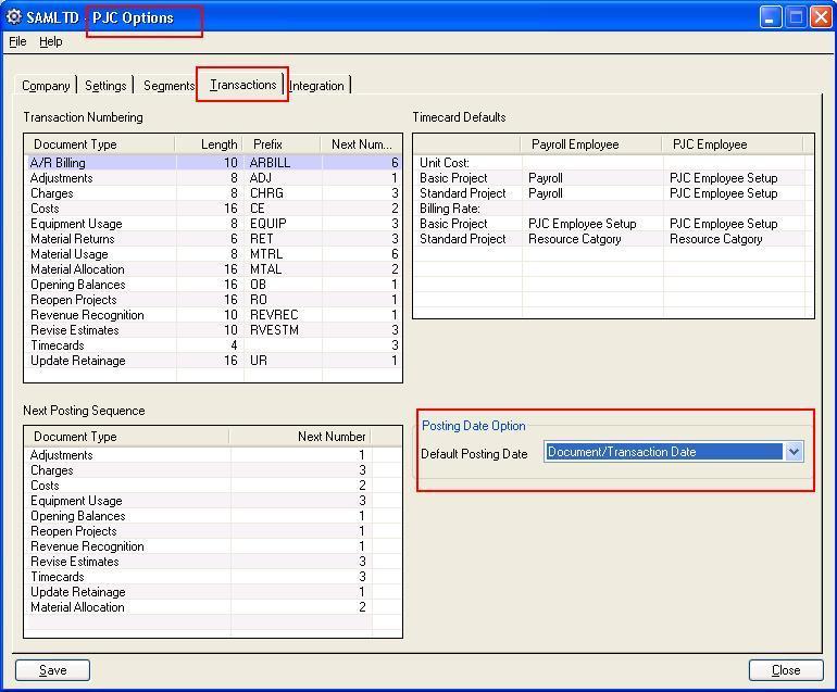PJC Option -> Setup form