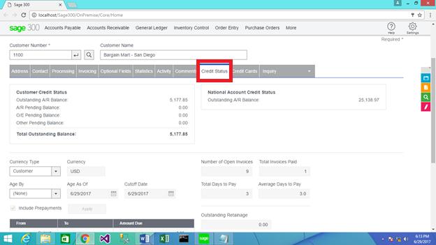 Web Screen- AR Customer Credit status