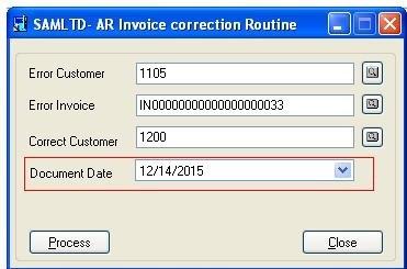 AR Invoice Correction routine