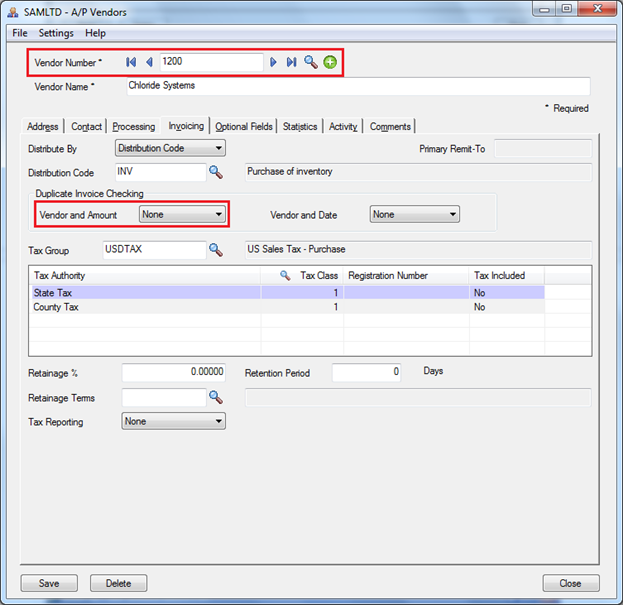 Vendor And Amount Setting
