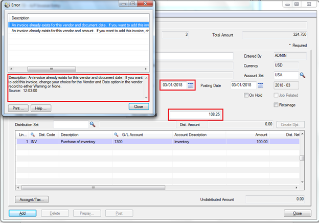 Prevent duplicate invoices in accounts payable – Sage 300