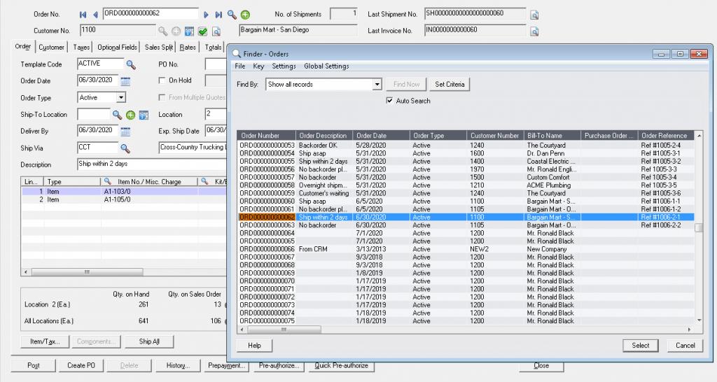 Sage 300 standard Order Finder