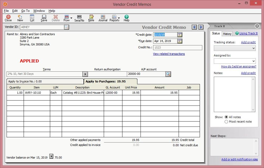 Sage 50 Credit Note Screen