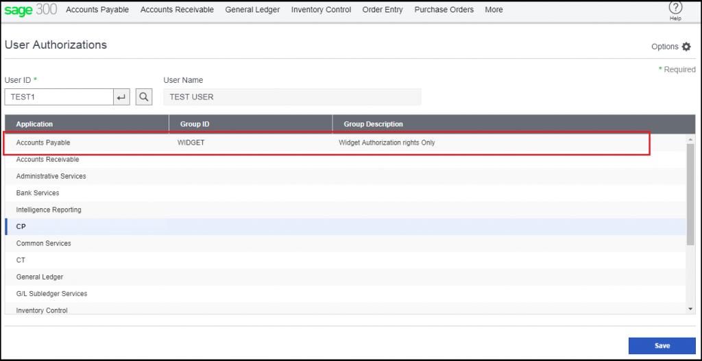 User authorization screen.
