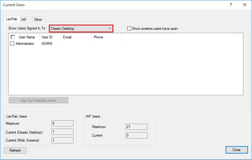 users logged into desktop version