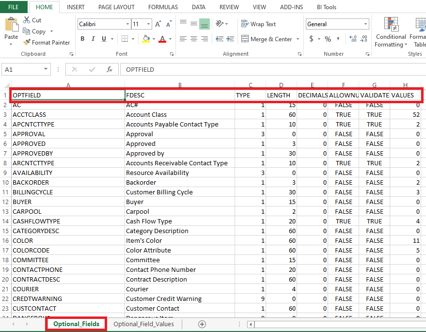 Excel Sheet with Format