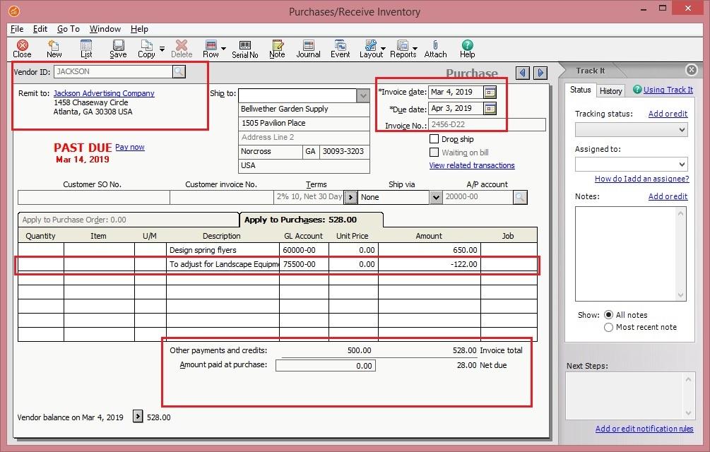 Sage 50 US AP Invoice with Negative Quantity