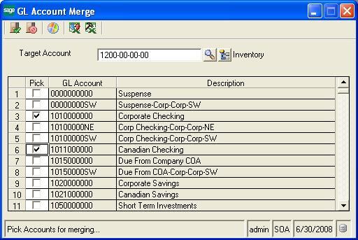GL Account Merge