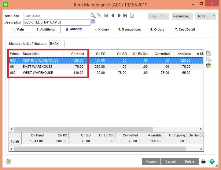Sage 100 ERP Item on hand Quantity