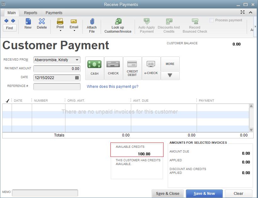 QuickBooks Customer Payment screen