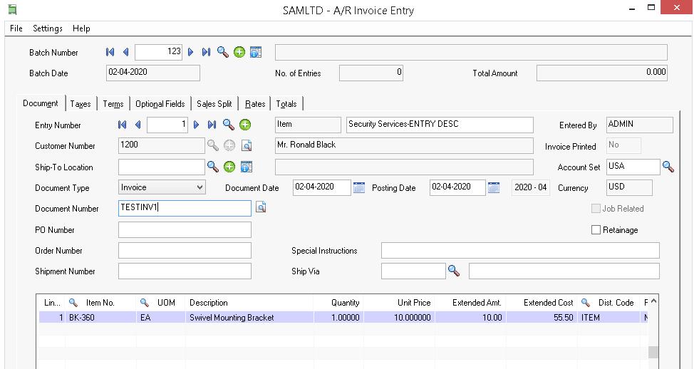 AR Invoice Entry Screen