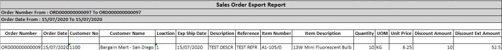 Sales Order - Export Details