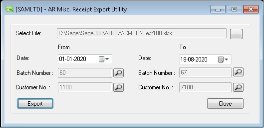 AR Misc. Receipt Export Utility- User Interface