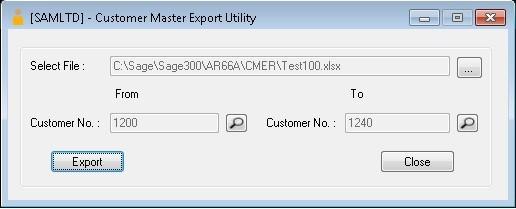 Sage 300-Customer Master Export utility