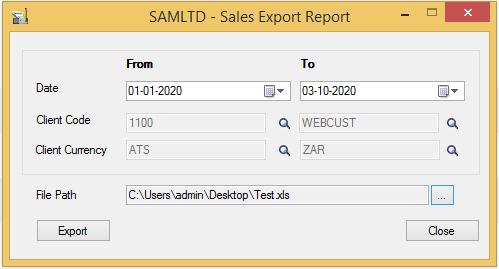 Sales Export Report - User Interface