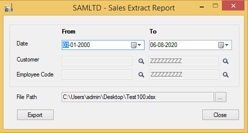 Sales Extract Report - User Interface