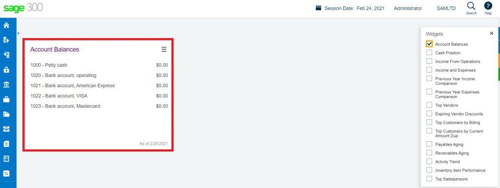 Account Balance widget