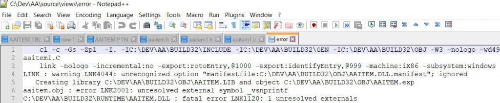 Error log file