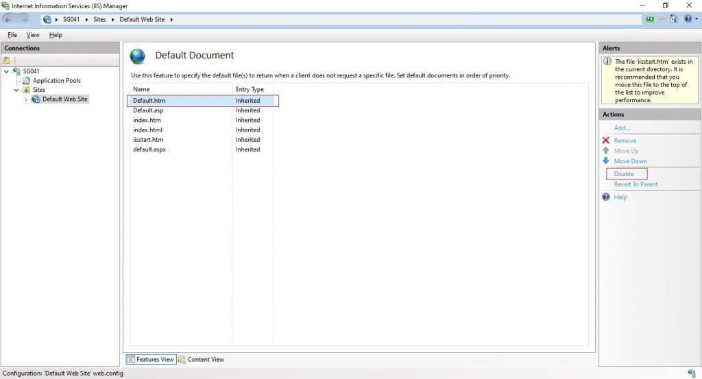 IIS - Default Document property