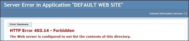 IIS Default Web Site Forbidden