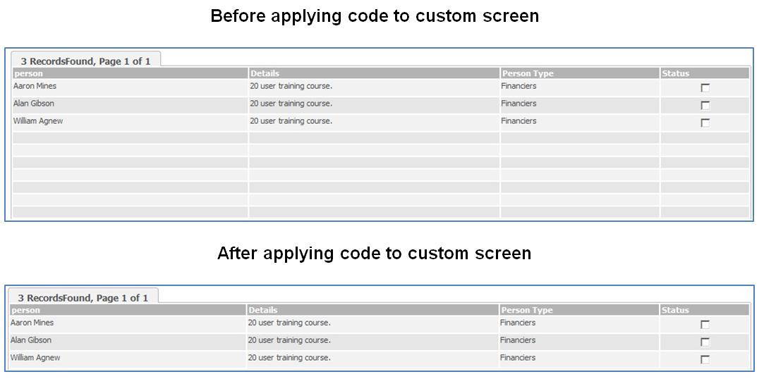 Custom Screen