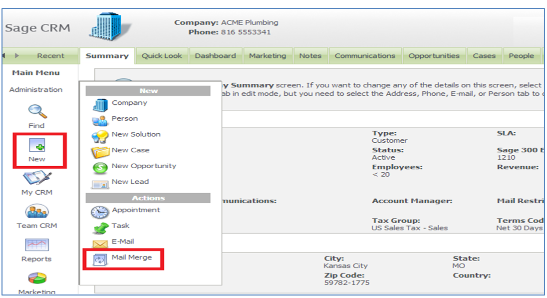 Print Current Date on Mail Merge Document in Sage CRM – Sage