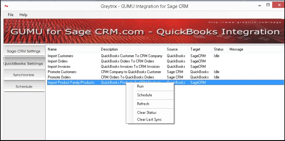 Import Product\Product Family from QuickBook to Sage CRM