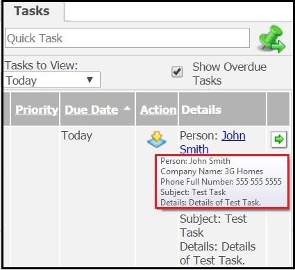 Default tooltip for Task