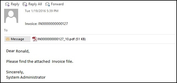 Email Invoice Fomat