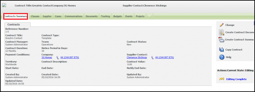 Contract management in sage crm Summary