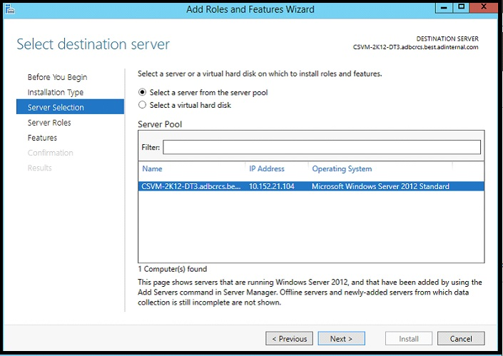 Server Selection, ensure the correct server is selected and click next.