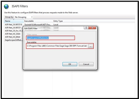 Remove SageAccpacUrlRedirector ISAP Filter
