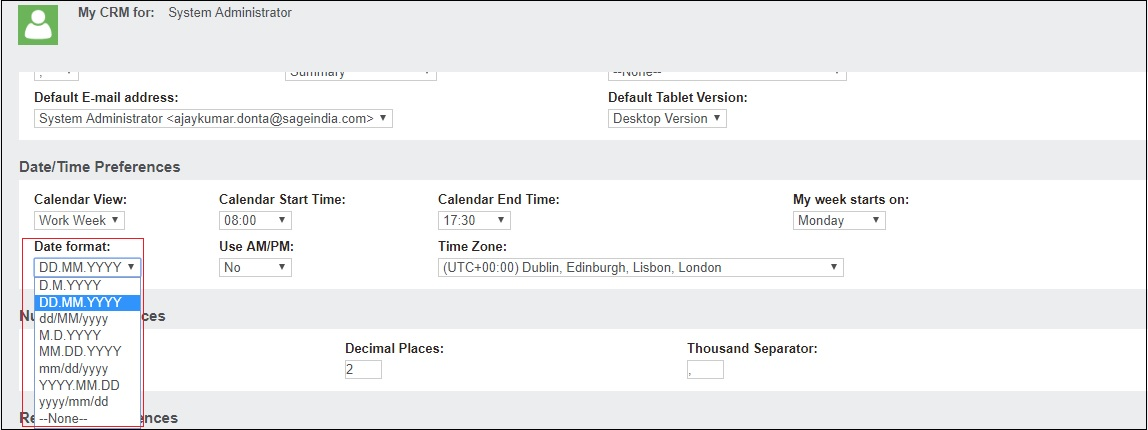 SAGE CRM 2017: Change the Display format of Dates in