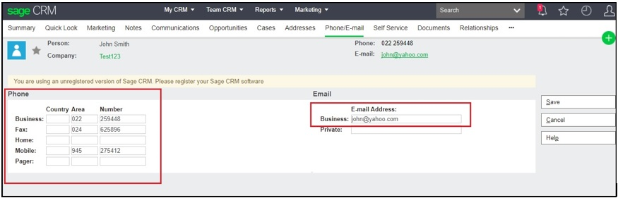 Importing email and phone details of contacts from Sage X3