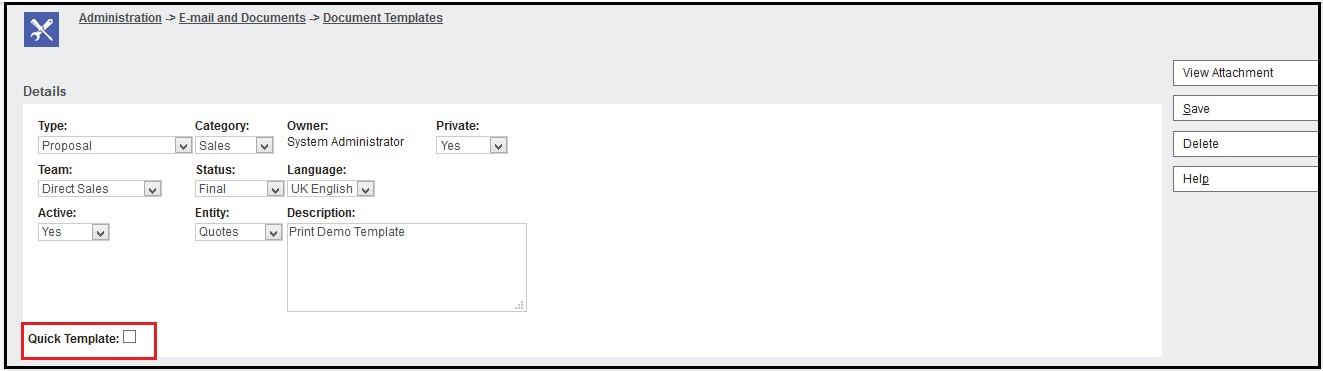 Quick Template check box
