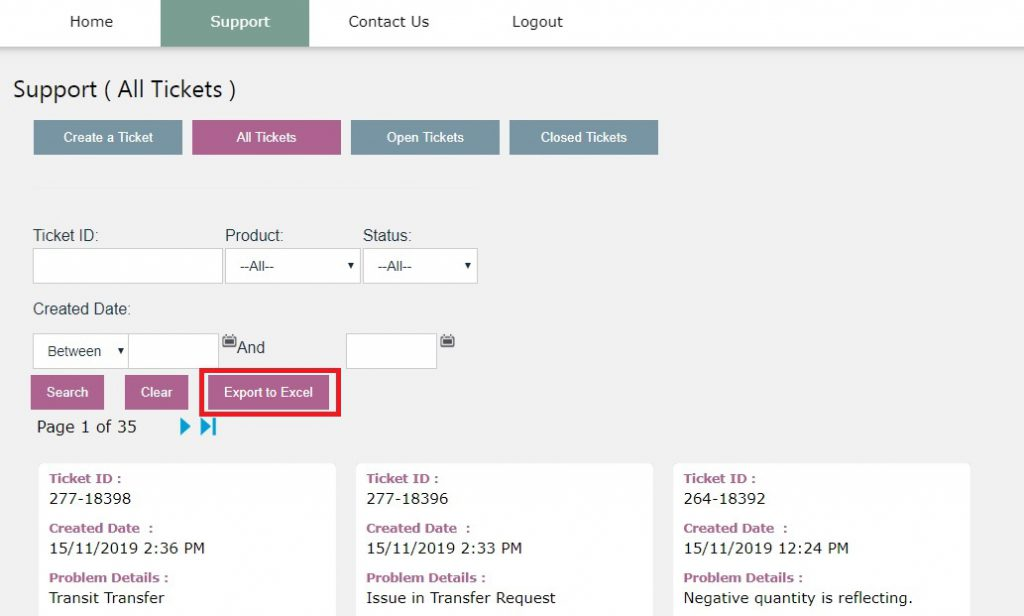 Export to Excel button on Self Service Portal