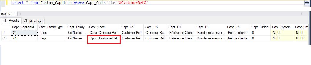 SQL Caption Code